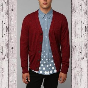 Your Neighbors Marled Red Cardigan